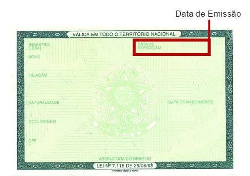 Data de Emissão do RG
