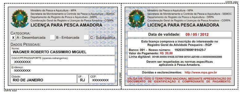 Licença para Pescador Amador